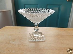 Westmoreland English Hobnail Clear Glass Pedestal Compote with Square Base