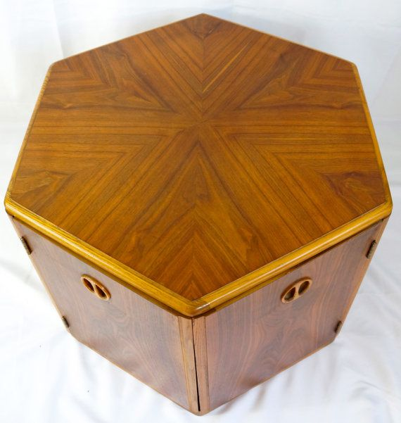 Lane Hexagon Walnut And Oak Side Table Cabinet By Dceclectichouse 325 00 Oak Side Table Furniture Finishes
