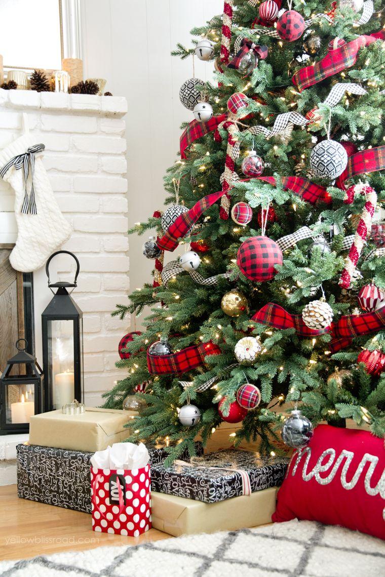Christmas Home Tour 2015 Yellowblissroad Com Christmas Home Colorful Christmas Tree Plaid Christmas Decor