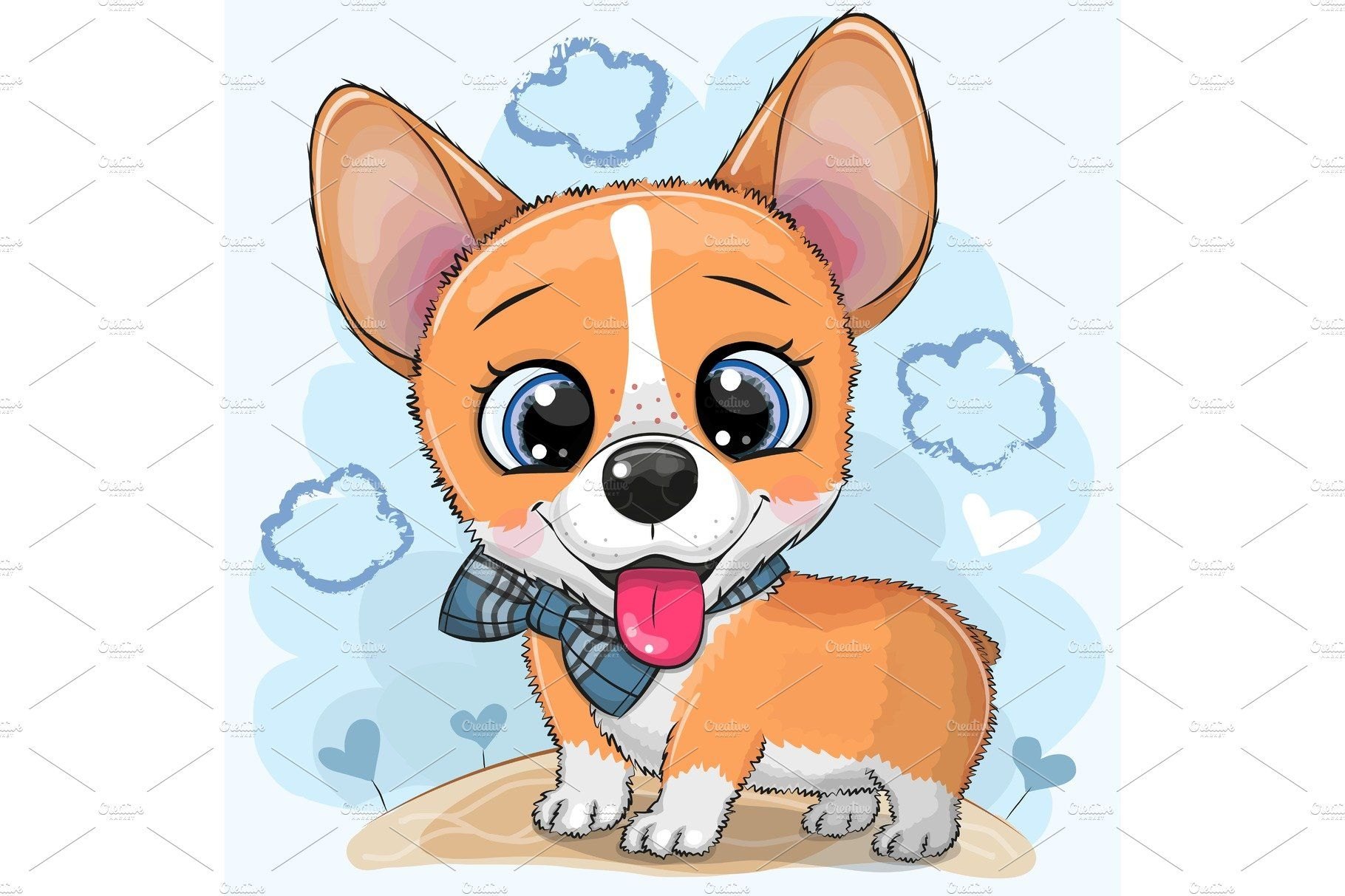 Cartoon Dog Corgi With A Bowtie Cartoon Dog Cute Cartoon Cartoon