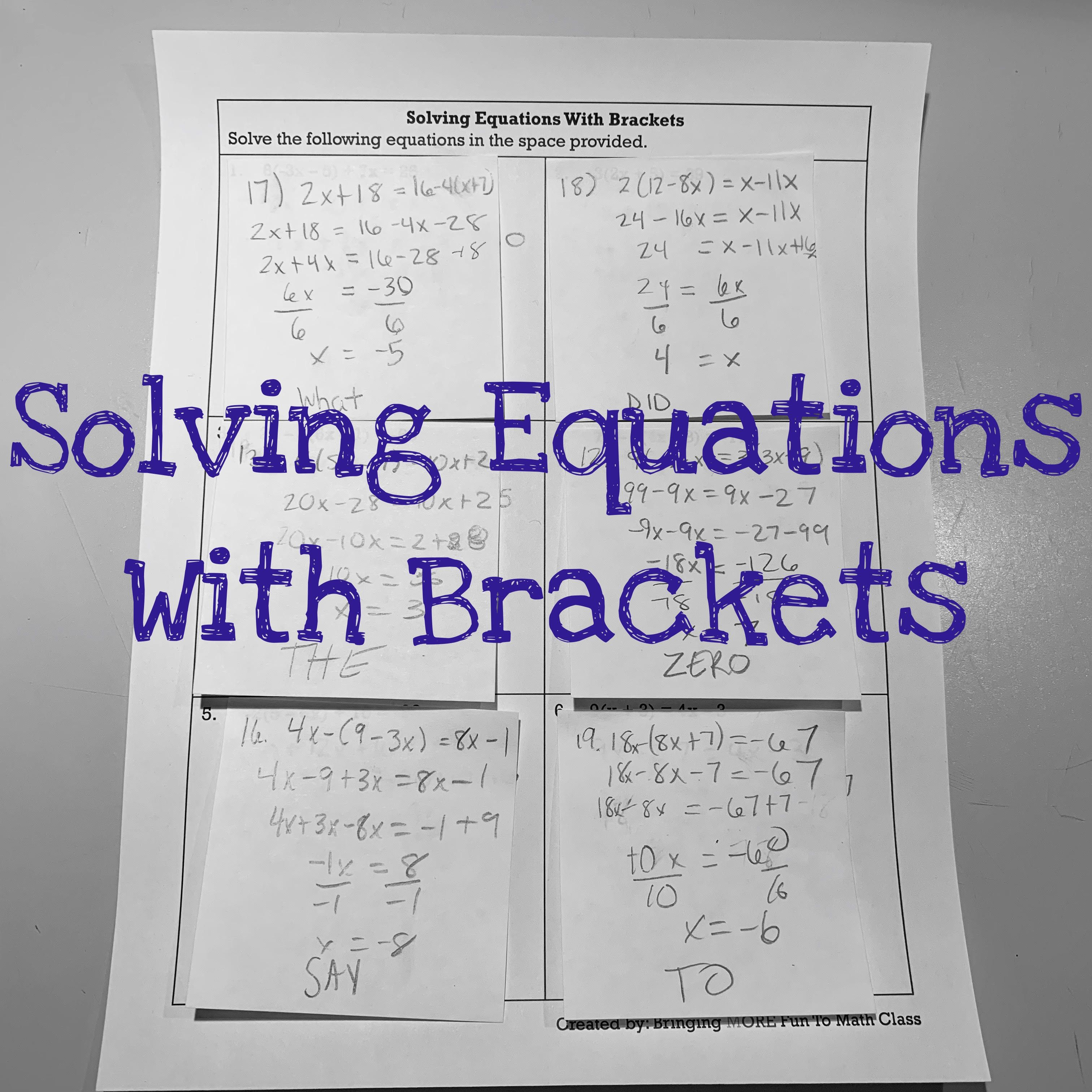 Solving Equations With Brackets Algebra Activity Algebra Worksheet Solving Equations Algebra Worksheets Algebra Activities [ 3024 x 3024 Pixel ]