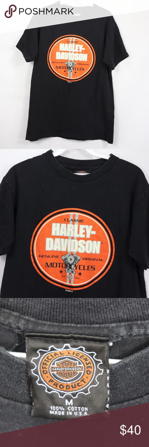 33dbcbd4 90s Harley Davidson Mens Medium ebiker Shirt Black Vintage 90s Harley  Davidson ebikerhq.com T