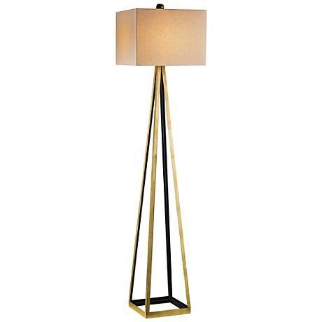 Arteriors hadley antique brass and black floor lamp 2d242 lamps plus