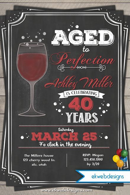 wine birthday invitation aged to perfection chalk board style