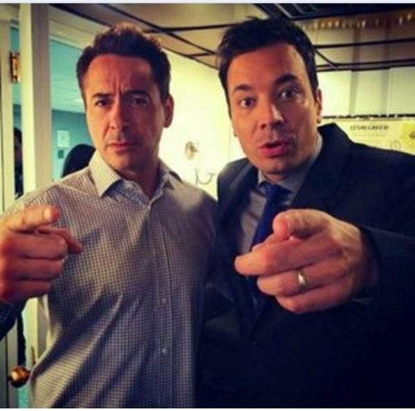 """Robert Downey Jr. and Jimmy Fallon, before RDJ filmed """"The Tonight Show with Jimmy Fallon,"""" October 8, 2014."""
