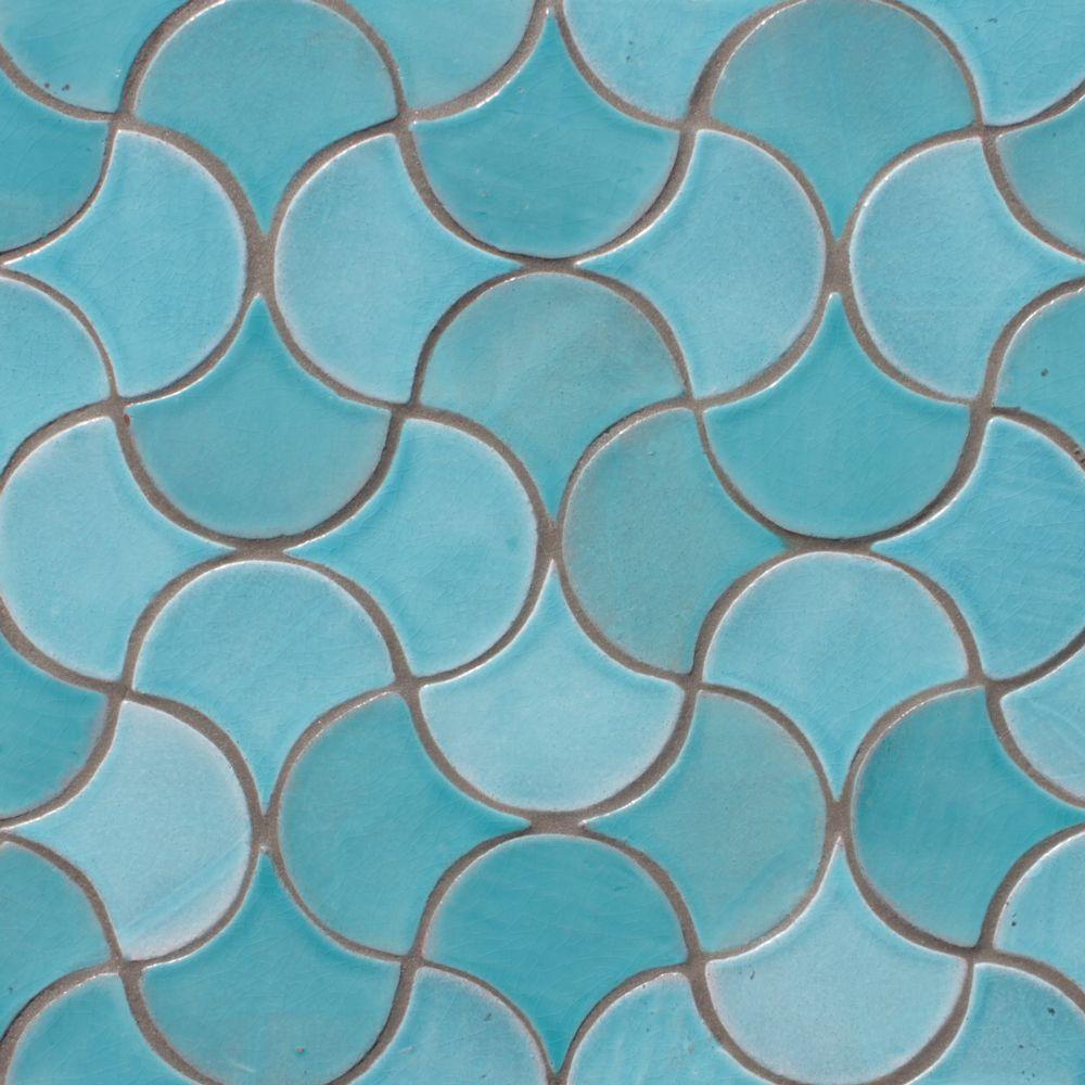 Decorative Tile Scallop Tiles Turquoise Gvega