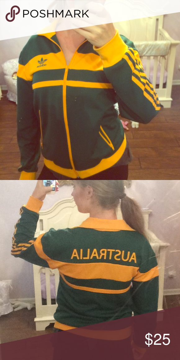 Green and yellow adidas track jacket Size small . Excellent condition. Says Australia on back. Purchased at adidas store in Australia Adidas Jackets & Coats Utility Jackets
