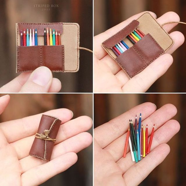 Miniature case with 12 small pens in a striped box #miniaturedolls