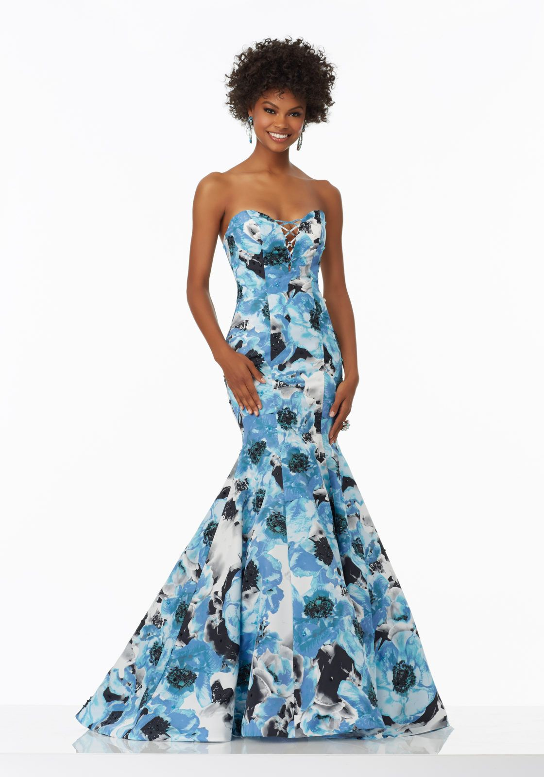 Mori Lee Blue Floral Mermaid Prom Dress | Blush Special Occasion ...
