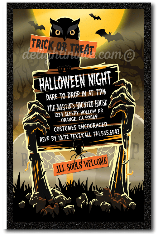 zombie graveyard adult halloween party invitations adult halloween costume party invitations - Zombie Halloween Invitations