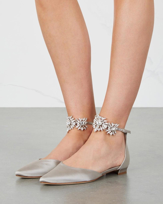 Manolo Blahnik Sicaria Crystal Embellished Satin Flats Shoes