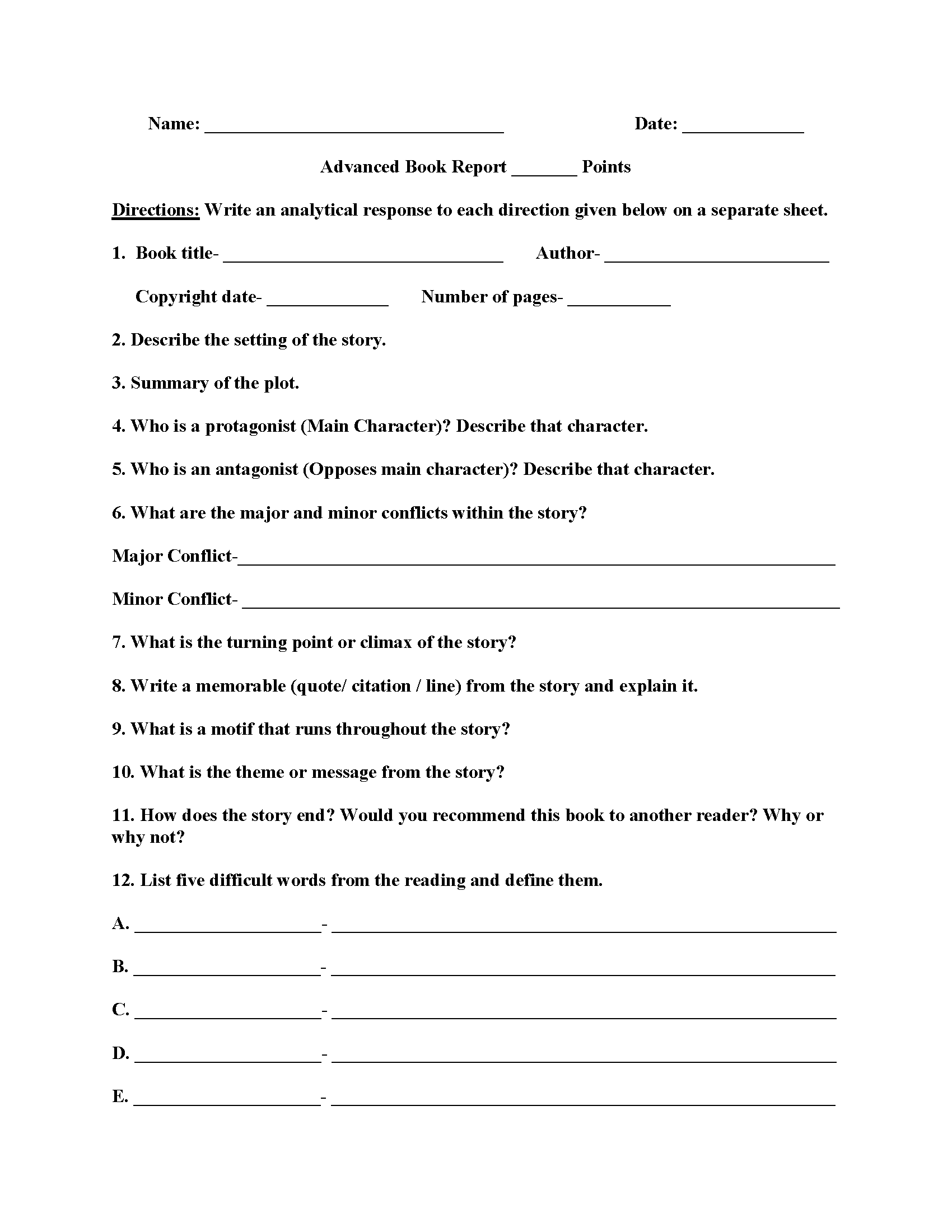Advanced Book Report Worksheets  Homework