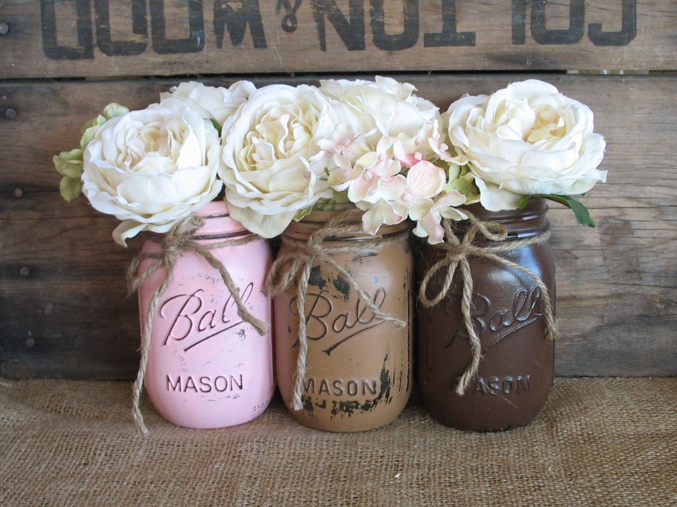 Mason Jar Party Decorations Masonjarsballjarspaintedmasonjarsbytheshabbychicwedding$