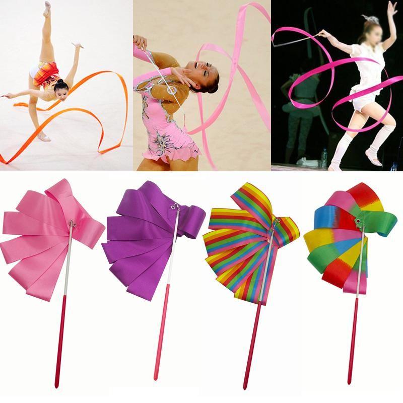 4M Dance Ribbon Gym Rhythmic Art Gymnastic Ballet Streamer Twirling Rod