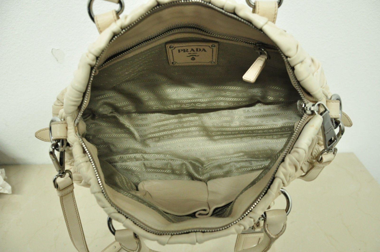 Authentic Prada Gaufre Beige Soft Leather Shoulder Bag Handbag Satchel Purse   300.0 29e61fbc3d