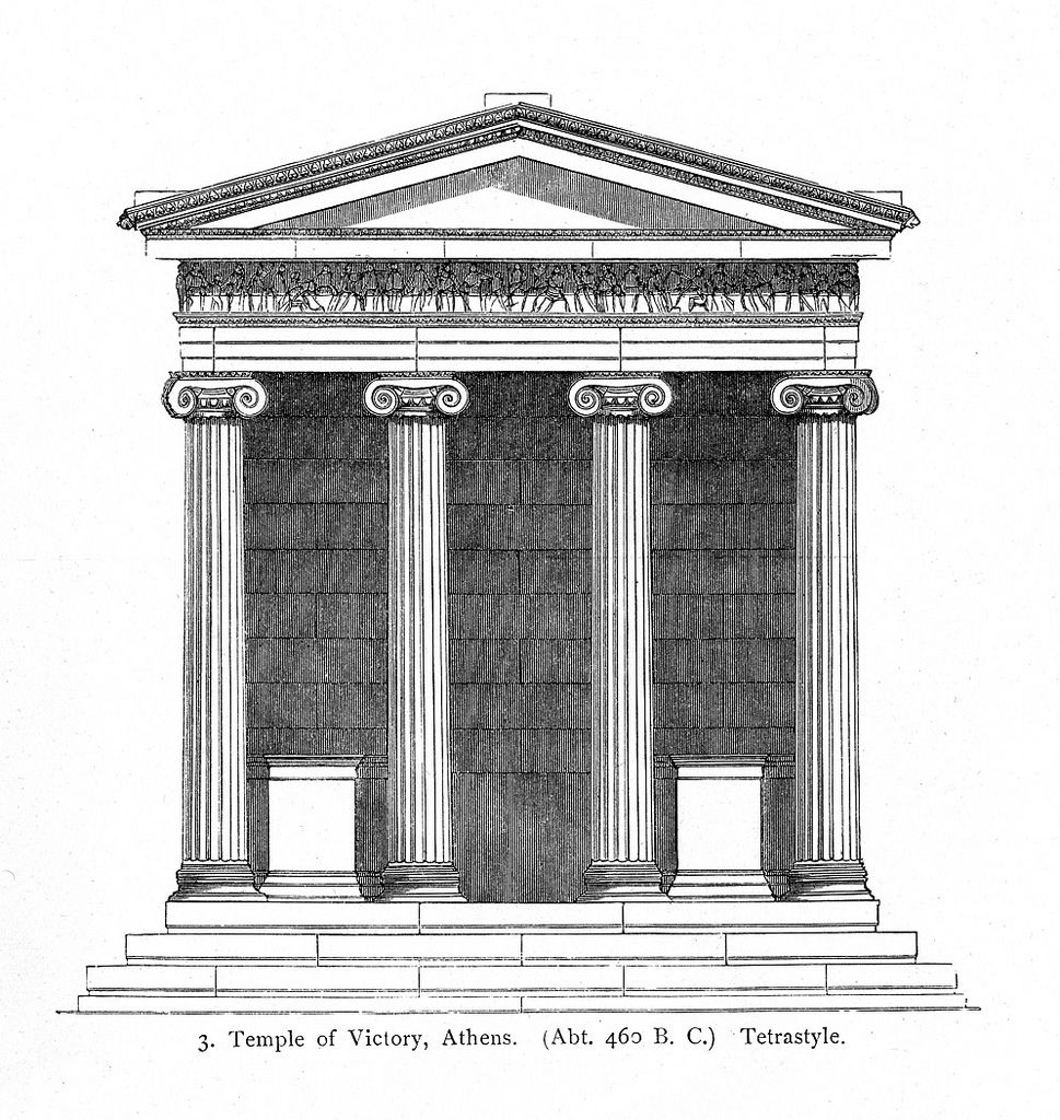 Greek Architecture Drawing acropolis, temple of athena nike: reconstruction rendering of