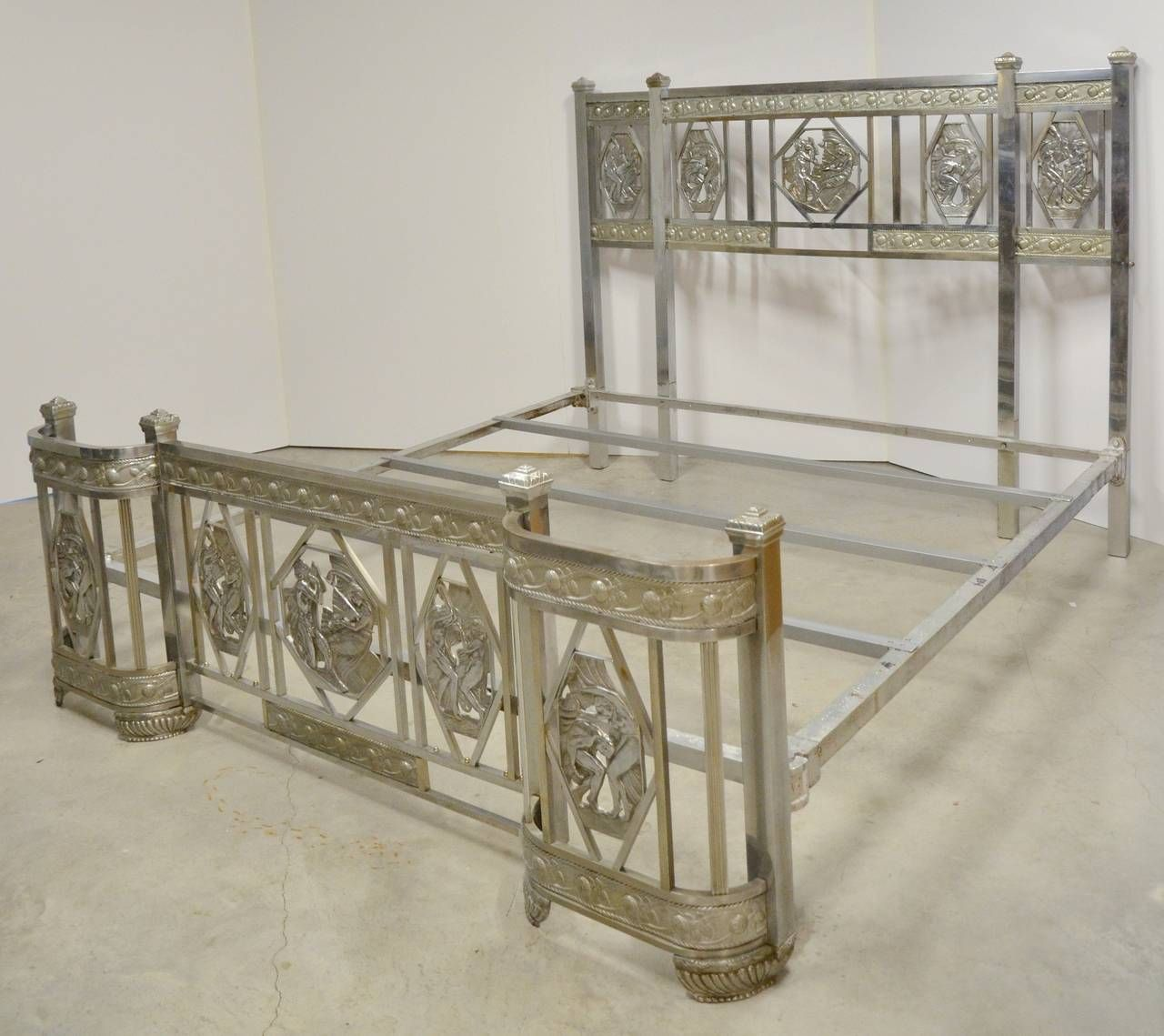 Art Deco Nickel Plated King Sized Bed 1930s Furniture Art Deco