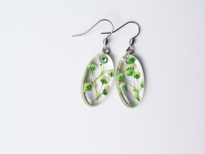 144b77fa9d6cee Real Flower Resin Earrings - Pressed Flower, Encased in Resin, Handmade  Botanical Earrings, Baby's Breath flowers by SmileWithFlower on Etsy