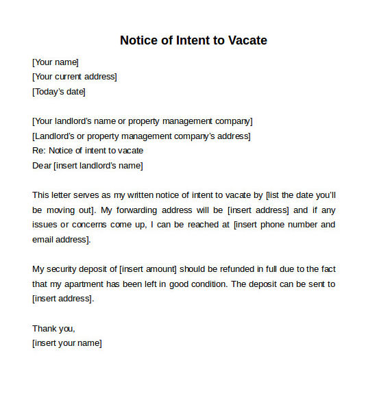 Free Notice To Vacate Captivating Notice To Vacate Templates  4 Free Word Excel & Pdf Formats .