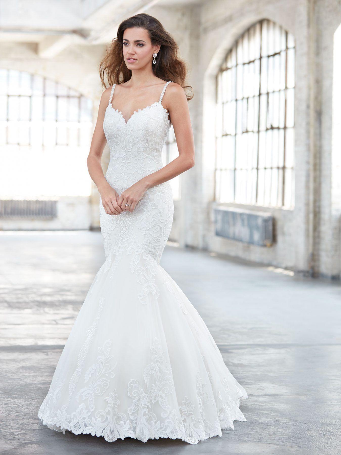 Vneck beaded mermaid wedding dress madison james style mj
