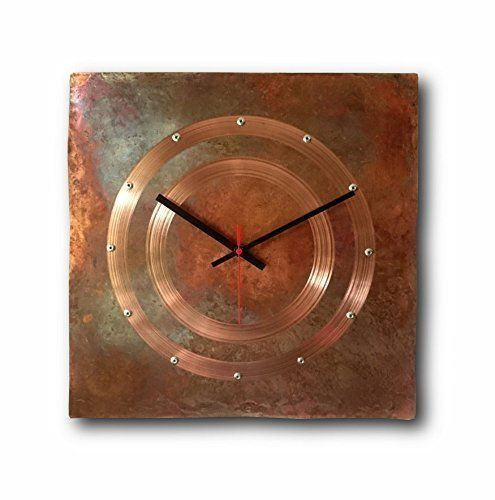 Large Copper Wall Clock 12 Inch Square Decorative Rustic Metal Original Silent Non Ticking Quartz For Home Wall Clock
