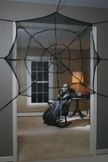 Door covered with illusion panel and cob web - HauntedProps