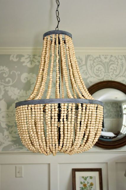Gus lula the chandelier string up some kix to a few sewing hoops gusandlula beaded chandelier made with wooden beads mozeypictures Choice Image