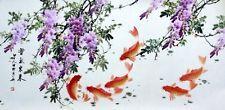 "Chinese big painting Fish carp flowers 26x53"" gongbi large huge horizontal art"