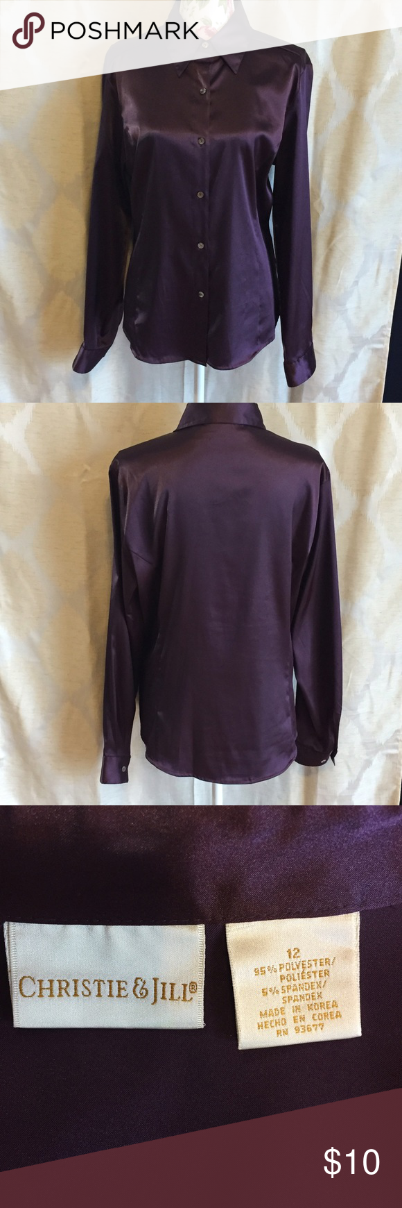 Silky royal purple button down Silky royal purple button down. 95% polyester, 5% spandex. Bust 21 inches, length 27 inches, arm 24.5 inches. christie & jill Tops Button Down Shirts
