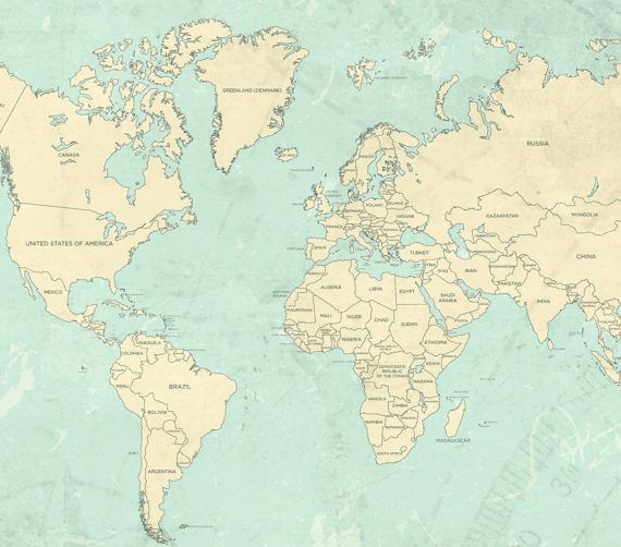 World map canvas print vintage teal mint ivory pastel light world world map canvas print vintage teal mint ivory by natalyborichart gumiabroncs Image collections