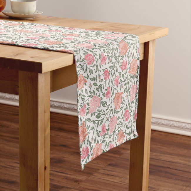 Pink and Peach Roses Table Runner #zazzlemade #arty #country #garden #flowers#botanical #gifts #gardenstyle #flowers #vintage #floral