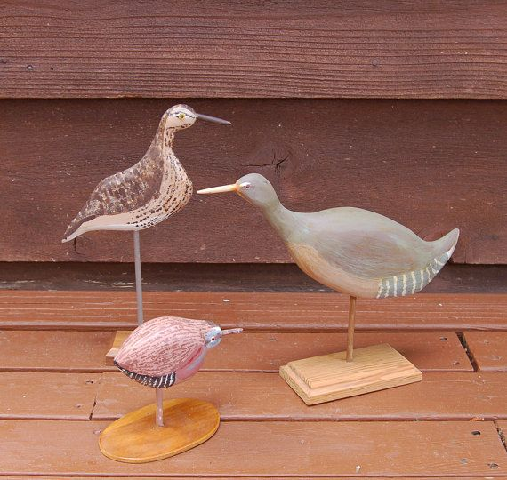 Trio of Carved and Painted Seabirds, Folk Art Birds by John J Gallivan, Vintage Coastal Birds