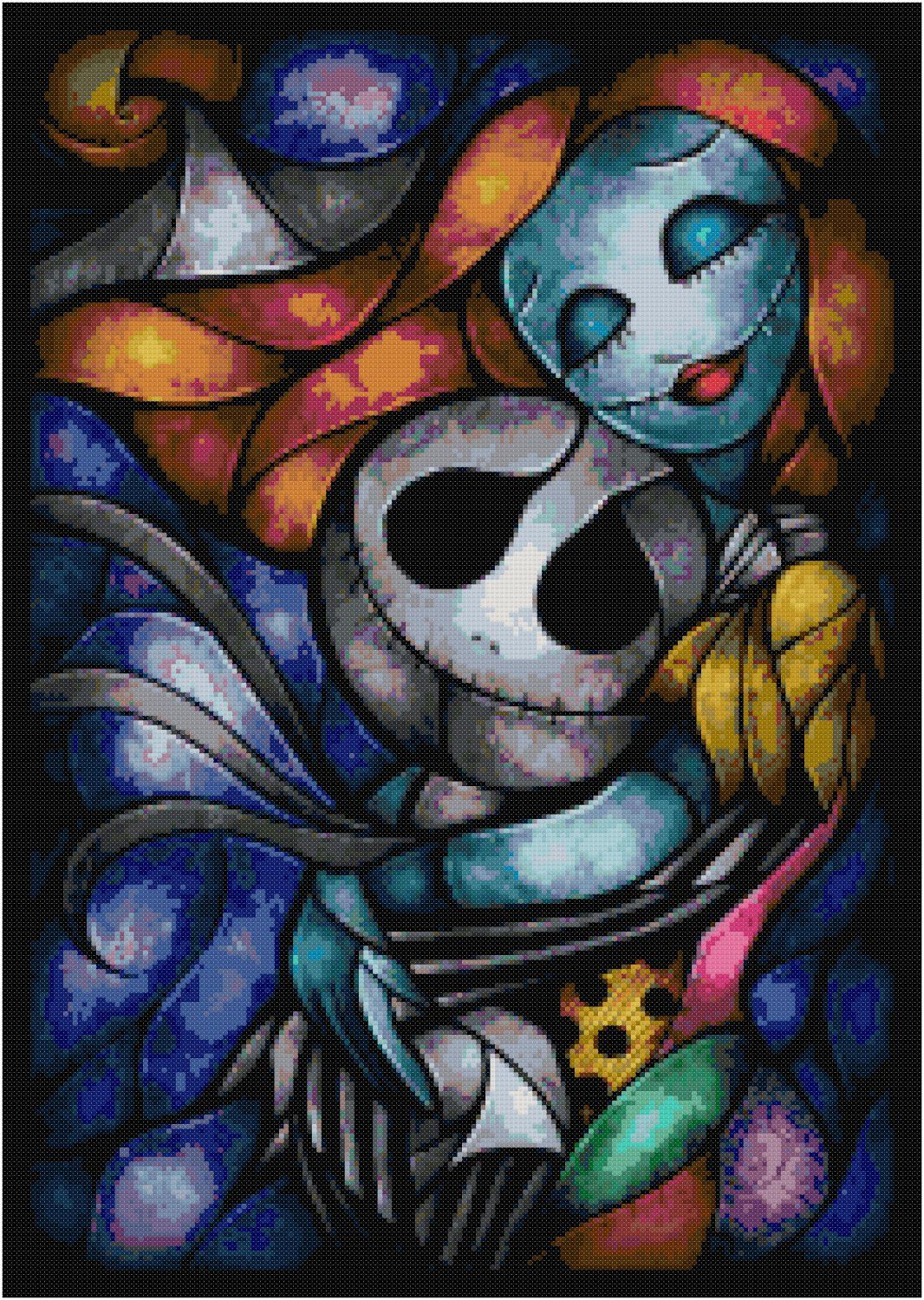 Disney jack and sally nightmare before christmas stained glass cross ...