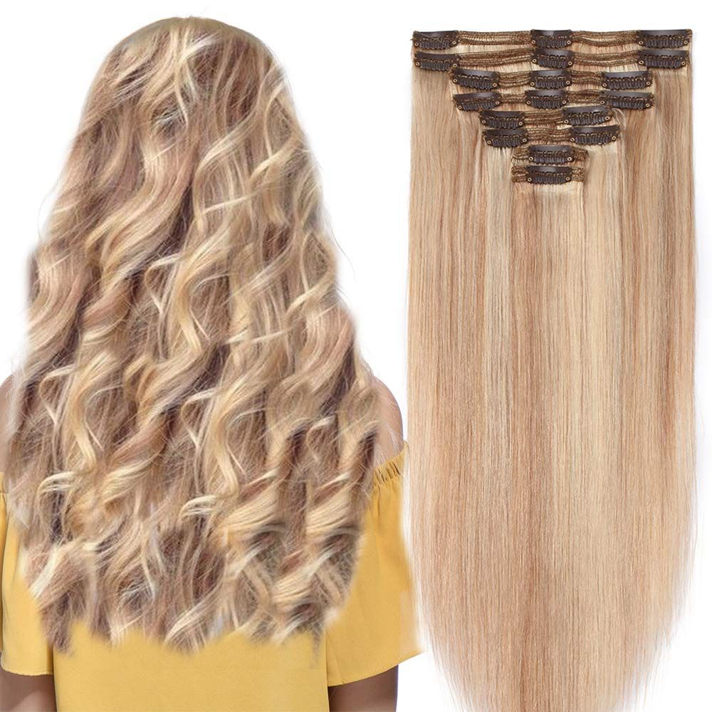 "eBay Sponsored 20"" Double Weft Human Hair Extensions Clip"
