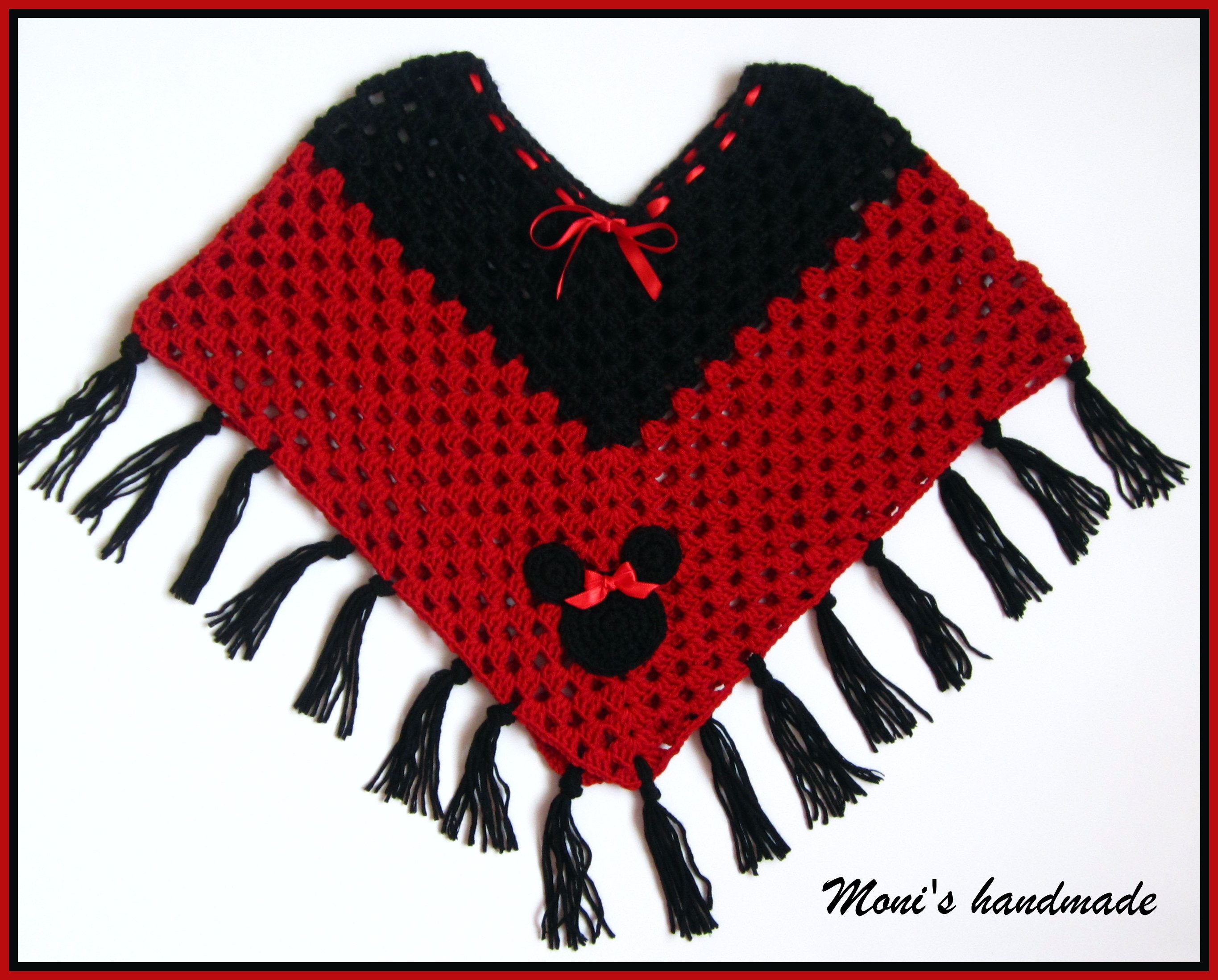 Minnie Mouse Knitting Pattern : Minnie mouse crochet poncho Knit and Crochet Pinterest Crochet poncho, ...
