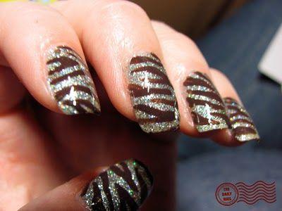 brown zebra sparkles happy nails