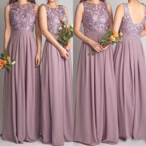 9a361ccfa8c 2016 Dusty Rose Bridesmaid Dress Scoop Neck Top Lace Backless Chiffon Floor  Length Wedding Guest Dresses Plus Size Maid of Honor Gowns ...