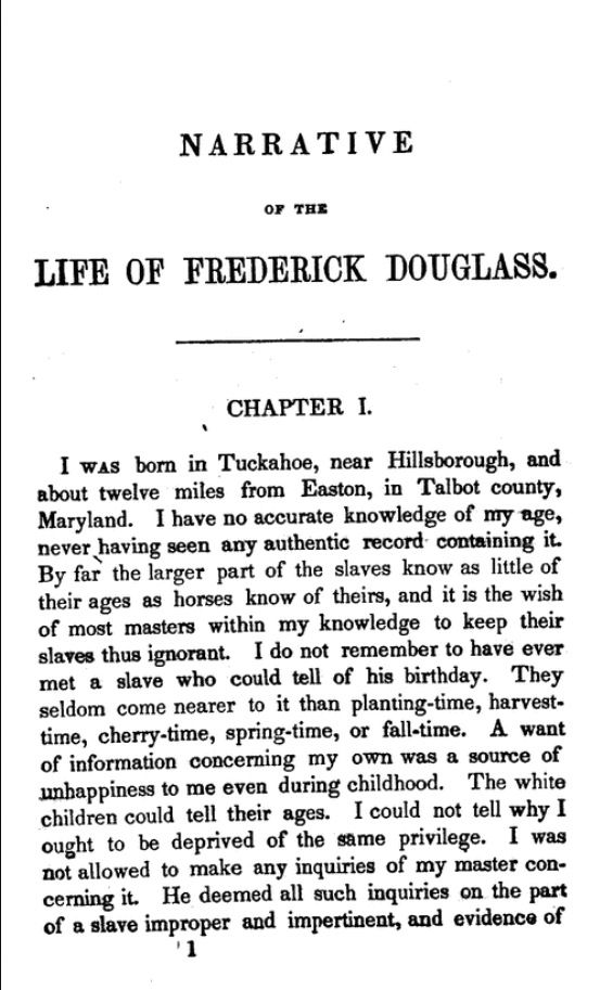 Essay frederick douglass narrative