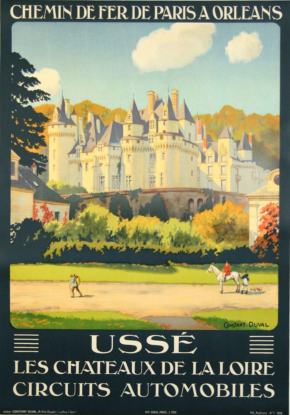Usse Les Chateaux De La Loire Www Galerie Graglia Others Com Affiche De Voyage Vintage Affiches De Voyage Retro Idee Voyage