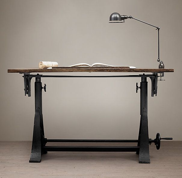 Superior 1910 American Trestle Drafting Table Restoration Hardware. Ugh