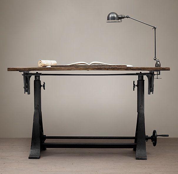 Superior 1910 American Trestle Drafting Table Restoration Hardware. Ugh