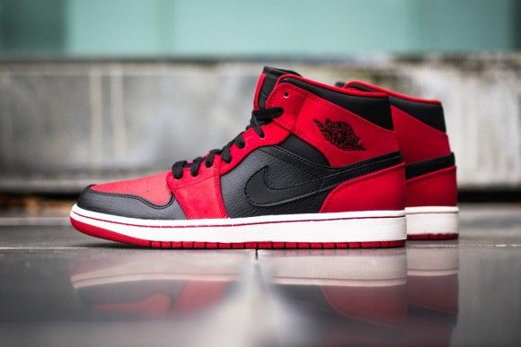 38e55a80bf4a Air Jordan 1 Retro Mid Black Gym Red New Detailed Pictures ...