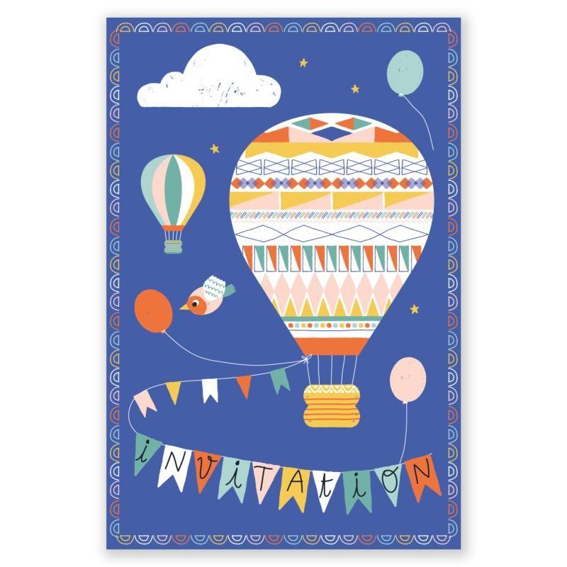 cartes d 39 invitation f te montgolfi res x8 a se passe l 39 atelier chez soi pinterest. Black Bedroom Furniture Sets. Home Design Ideas