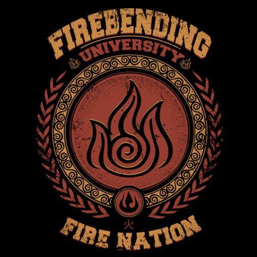 Firebending University T Shirt The Shirt List Avatar Airbender Avatar Avatar Aang