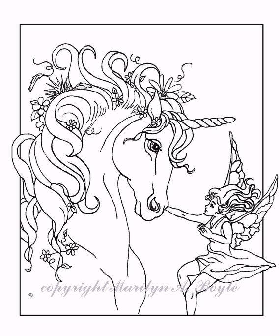 Fairy Unicorn Printable Coloring Page Digital Download Etsy Unicorn Coloring Pages Horse Coloring Pages Animal Coloring Pages