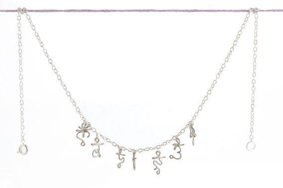 Chakra Symbols Necklace - Silver Yoga Sanskrit New Age Spiritual Jewelry