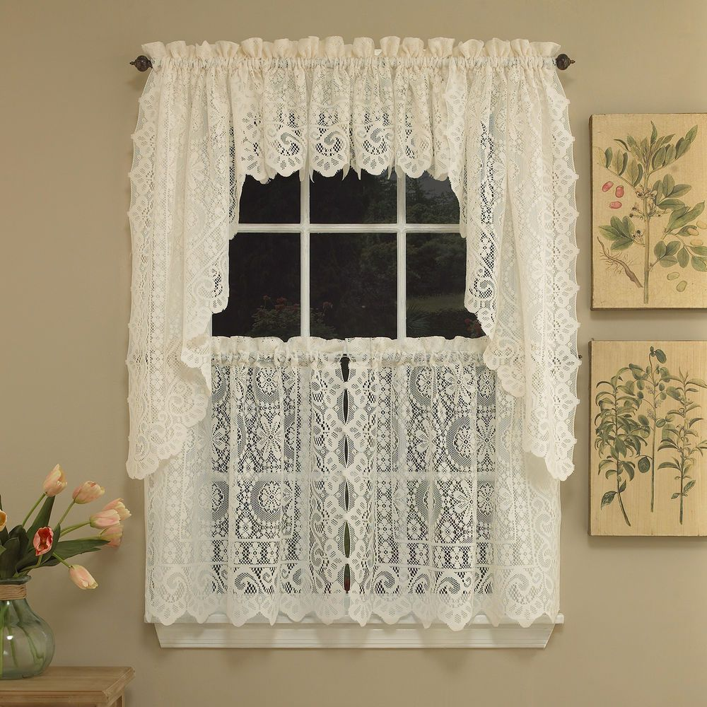 Hopewell Heavy Cream Lace Kitchen Curtain Choice Of Tier Valance Enchanting Swag Curtains For Kitchen Inspiration