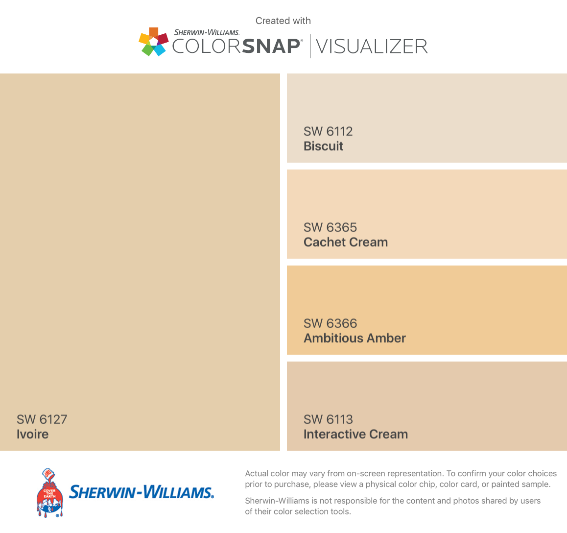 I Found These Colors With Colorsnap Visualizer For Iphone By Sherwin Williams Ivoire Sw 6127