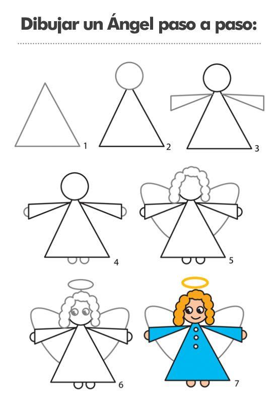 Con Este Tutorial De Dibujo Aprenderas A Dibujar De Una Forma Muy Facil Un Angel Muy Bonito Que Angel Para Dibujar Bibujos A Lapiz Dibujo Navidad Para Colorear