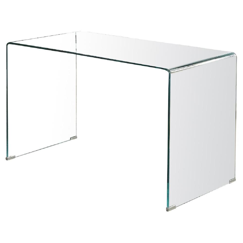 Pure Tempered Glass Modern Minimalist Style Writing Desk Aptdeco